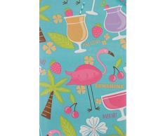 Summer Fun Tropical Island Cocktail Party und Flamingos mit Reißverschluss Regenschirm Loch Vinyl Tischdecke Flanell Rückseite 70 Round Multi