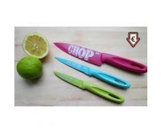 3-teiliges Jamie Oliver Edelstahl-Messer-Set in Pink, Grün und Blau