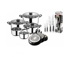 San Ignacio Set: 4-teiliges Küchenzubehör-Set, 4-teiliges Messer-Set, 3-teiliges Pfannen-Set und 8-teiliges Töpfe-Set