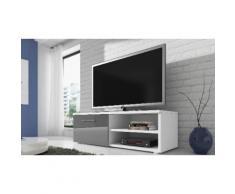TV-Bank Schrank in Weiß und Hochglanz-Grau, 120 cm