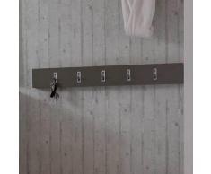 Garderoben Hakenleiste mit Klapphaken Grau Braun
