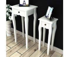 vidaXL Beistelltisch Telefontisch mit Schubfach 2 Größen weiß