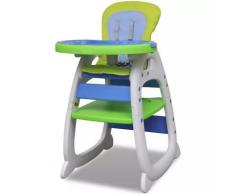 vidaXL Blau-Grüner Umwandelbarer 3-in-1 Baby-Hochstuhl