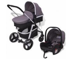 vidaXL 3-in-1 Kinderwagen Aluminium grau und schwarz