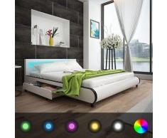 vidaXL Kunstlederbett mit 2 Schubladen LED-Leiste am Kopfteil 180 cm weiß
