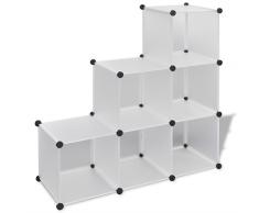 vidaXL Regalsystem Treppenregal Steckregal mit 6 Fächern 110x37x110cm weiß