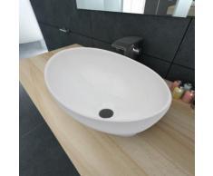 vidaXL Keramik Waschtisch Waschbecken Oval Weiß 40 x 33 cm