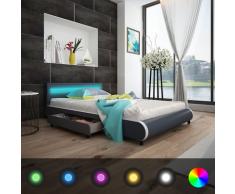 vidaXL Kunstlederbett mit LED-Leiste am Kopfteil + Memory-Matratze 140 cm