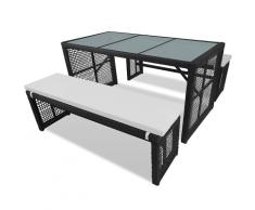vidaXL Polyrattan-Gartenmöbel Set 1 Tisch und 2 Bänke schwarz