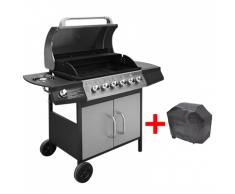 vidaXL Gasgrill Barbecue-Grill 6+1 Brenner Schwarz und Silber