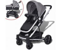 vidaXL 2-in-1 Buggy/Kinderwagen Aluminium grau und schwarz