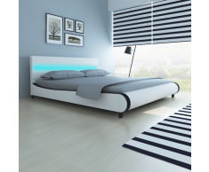 vidaXL Bett mit LED-Leiste am Kopfteil + Memory-Schaum-Matratze 180 cm