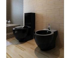 vidaXL Stand-Toilette/WC WC Sitz+Stand-Bidet Bodenstehend schwarz