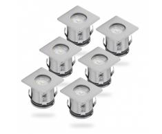 SMARTWARES LED-Bodeneinbaustrahler 6 Stk. 0,36 W Chrom 5000.476 Ground Spotlight Stück