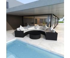 vidaXL Gartenmöbel, halbrundes Poly Rattan Sofa Set mit Tisch, Schwarz