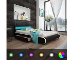 vidaXL Kunstlederbett 140 cm mit LED-Leiste am Kopfteil + Memory-Matratze