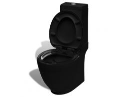 vidaXL Stand-Toilette/WC Bodenstehend Design Toilette Keramik Schwarz
