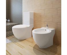 vidaXL Stand-Toilette/WC+Soft WC Sitz+Stand-Bidet Bodenstehend weiß