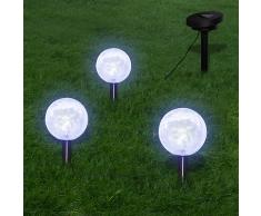 vidaXL Solarleuchte Solarkugel 3er LED Lampe Kugelleuchte