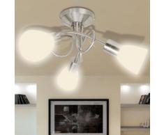 vidaXL Deckenleuchte mit Glas-Lampenschirme für 3 × E14 Glühlampen