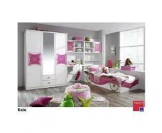 ROLLER 4-teiliges Jugendzimmer, Kinderzimmer Kate - Alpinweiß-rosa - mit Spiegel