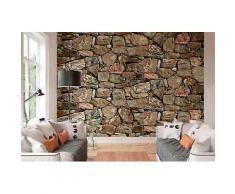 ROLLER Fototapete, Mustertapete 4-teilig Steinmauer - 368x254 cm