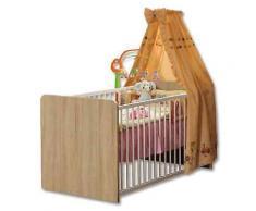 ROLLER Babybett, Gitterbett Winnie - Sonoma Eiche-weiß - 70x140 cm