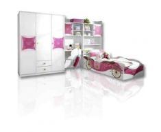 ROLLER 4-teiliges Jugendzimmer, Kinderzimmer Kate - Alpinweiß-rosa