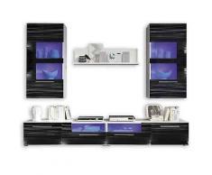 ROLLER Wohnwand Corner - weiß-schwarz Hochglanz - blaue Beleuchtung, A+