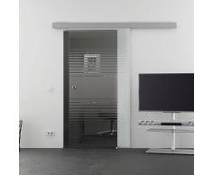 Mein-Glasladen Glasschiebetr Lamellen-Design (L) Schiebetr | 1025 x 2050 mm Glasgre |Basic-Alu-Schienensystem