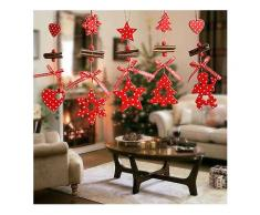 Weihnachtsbaum Ornamente Holz Schneeflocke Herz Stern Glocke Party Home Weihnachtsdekor Navidad Dekoration Windspiele-Hängender