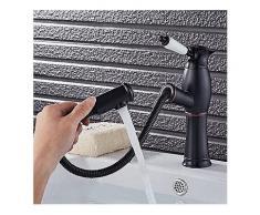 Küchenarmatur Ziehen Kühle Schwarz Lackiert Flexible Heiße und Kalte Mischbatterien Deck Berg Schwenk Wasserhahn-Küche-Wasserhahn