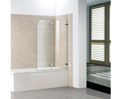 Badewanne 2 tlg. Faltwand Duschwand Drehen 180°duschabtrennung 110x140cm
