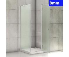 100x90x190cm Duschkabine 8mm Glas Scharniertür Ohne Duschtasse R