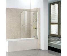 Badewanne 2 tlg. Faltwand Duschwand Drehen 90°duschabtrennung 100x140cm