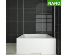 Badewanne Duschwand 180°trennwand duschabtrennung 80x140cm NANO Glas