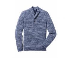 Pullover mit Knopfleiste Regular Fit langarm in blau für Herren von bonprix