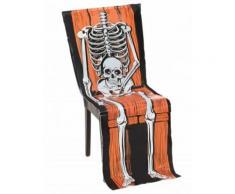 Halloween-Stuhlhusse Skelett aus Plastik schwarz-weiss-orange 45 x 140 cm