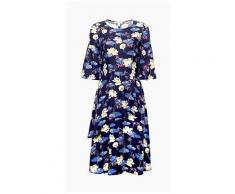 Esprit Fließendes Kleid mit Seerosen-Print für Damen Navy