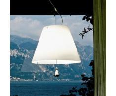 Luceplan Costanza D13 sa.s. Pendelleuchte mit Zug Ø 40 H: 100/250 cm, aluminium/weiß 1D13NSA20020+1D13001NT002, EEK: A++. Diese Leuchte ist geeignet für Leuchtmittel der Energieklassen: A++, A+, A, B, C, D, E.