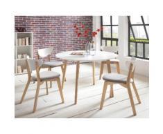 NORDISK Vintage Tischgruppe 5-teilig Esstisch rund 107 cm + 4 Stühle akazie teilmassiv