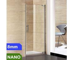 100x185cm Duschabtrennung 8mm NANO Glas + Duschtasse 100x76cm