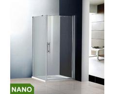 70x70x185cm Duschkabine Schwingtür Duschabtrennung NANO Glas