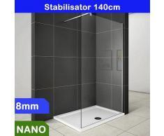 Walk in Duschabtrennung Duschwand 8mm NANO Glas 130x200cm
