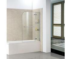 120x140 cm Badewanne 2 tlg. Faltwand Duschwand duschabtrennung