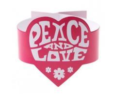 Serviettenringe Hippie Peace and Love Tischdeko 6 stück pink